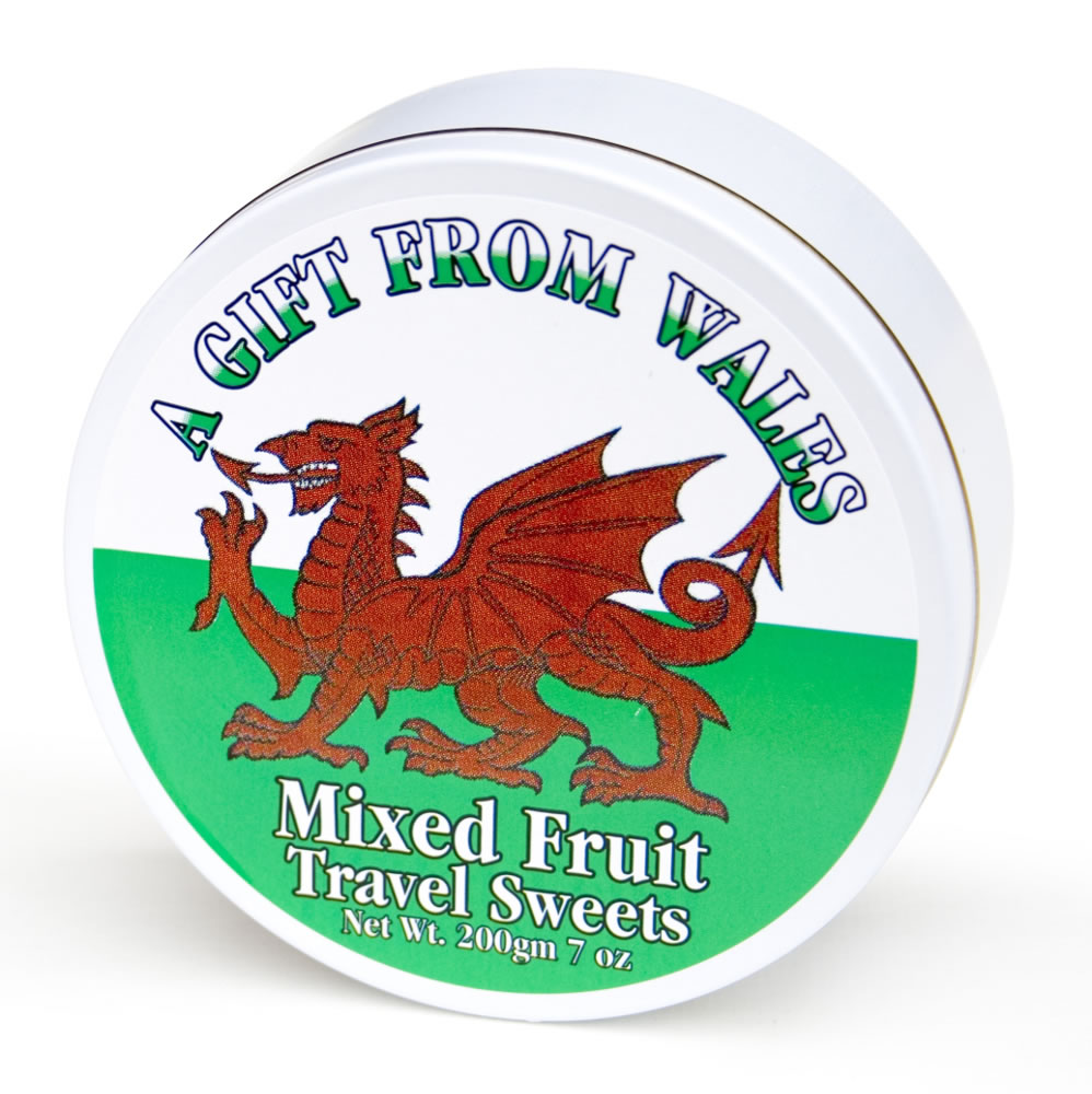 Welsh Dragon Mixed Fruit Travel Sweets Tin