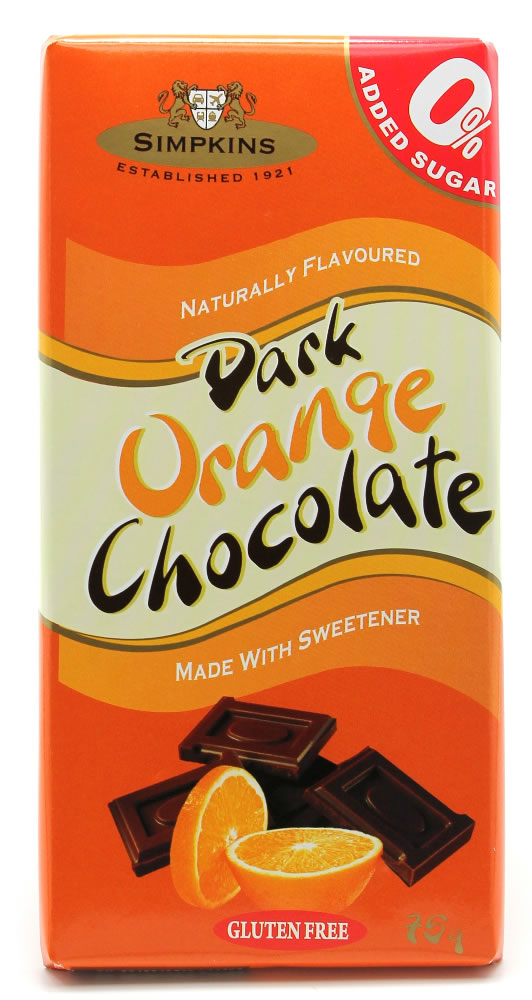 Simpkins No Added Sugar Dark Orange Chocolate Bar