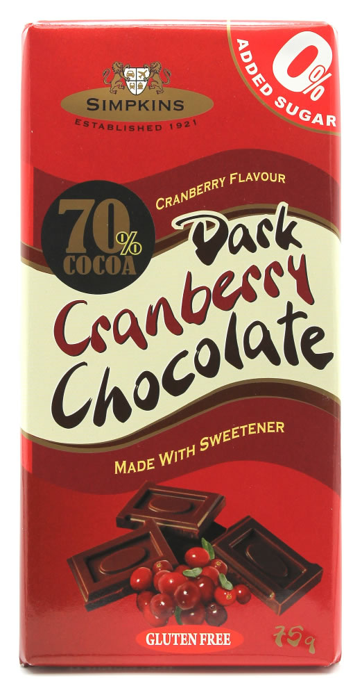 Simpkins No Added Sugar Dark Cranberry Chocolate Bar