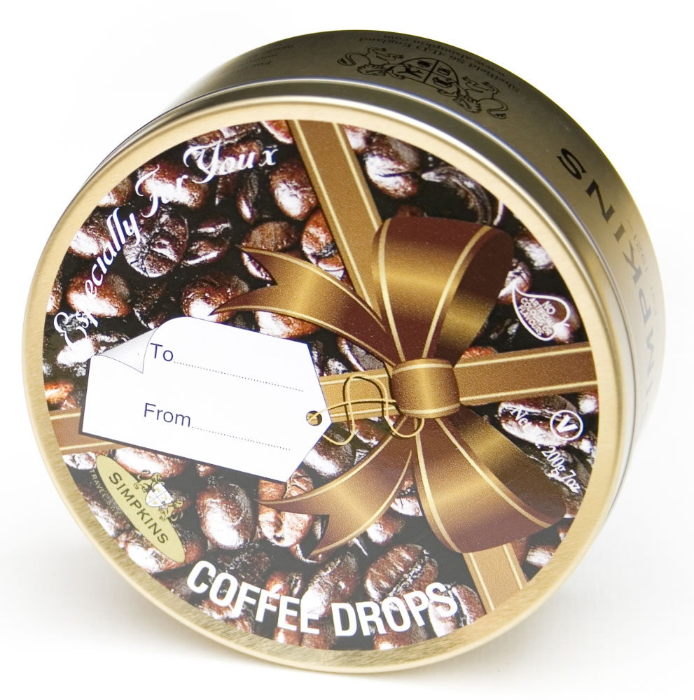 Coffee Flavoured Travel Sweets Ribbon Gift Tin