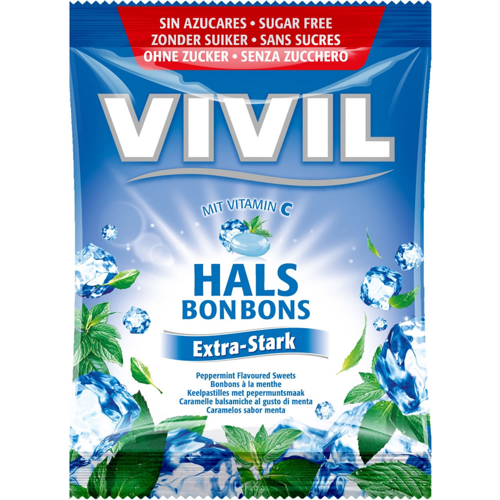 VIVIL Sugar Free Extra Strong Peppermint Bonbons with Vitamin C